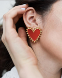 Red Enamel Heart Earrings - Estilo Concept Store