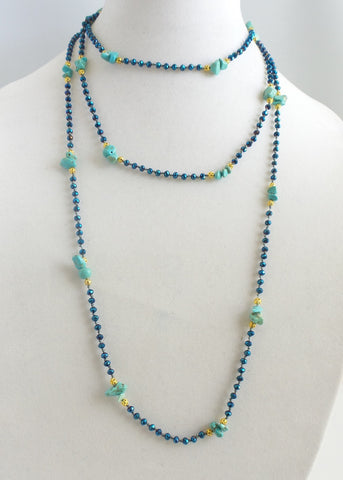 Super Long Turquoise and Crystals Necklace *click for more colors - Estilo Concept Store