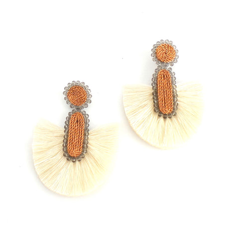 White Fan Earrings