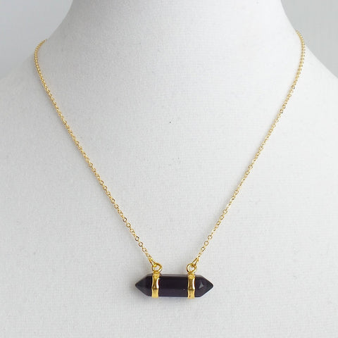 Amethyst Barrel Pendant Necklace