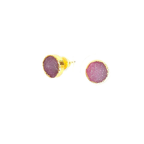 Druzy Fuchsia Stud Earrings