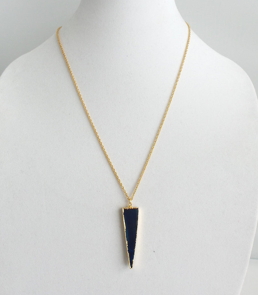 Gilded Navy Agate Triangle Pendant Necklace