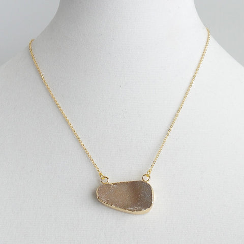 Natural Druzy Pendant Necklace