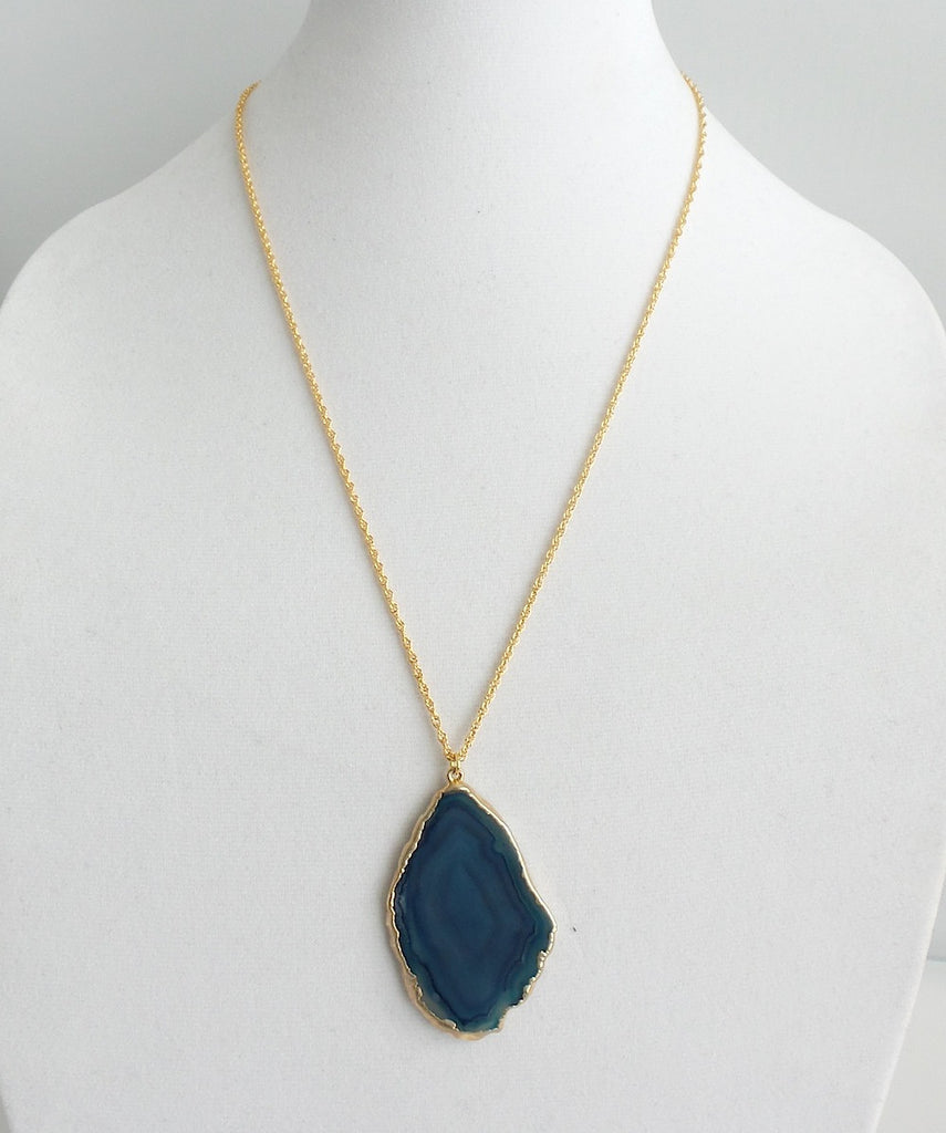 Flat Agate Pendant Long Necklace *click for more colors