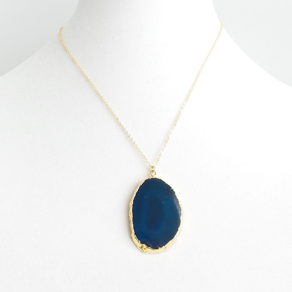 Flat Agate Pendant Necklace *click for more colors