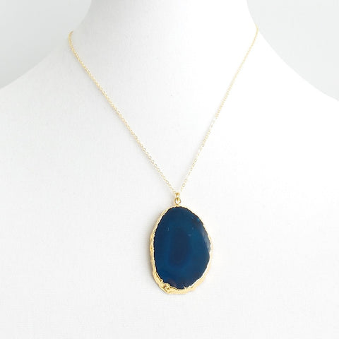 Flat Agate Pendant Necklace *click for more colors - Estilo Concept Store