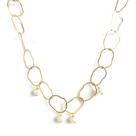 Open Link Pearl Long Necklace