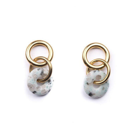 Linked Loop Kiwi Jasper Earrings