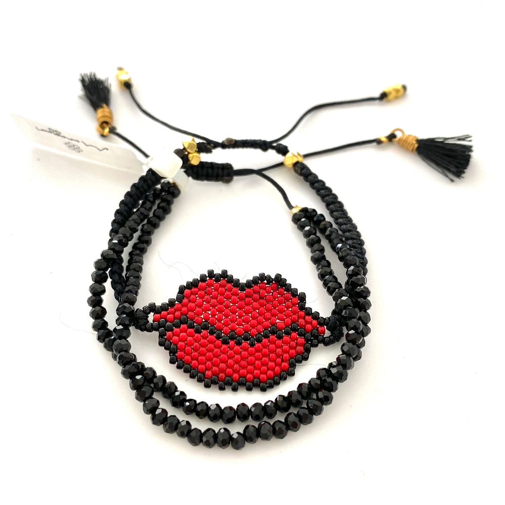 Beaded Red Lips Set of 2 Crystal Bracelets - Estilo Concept Store