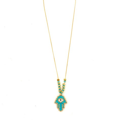 Beaded Turquoise Hamsa Hand Necklace