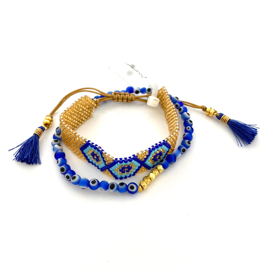 Blue Evil Eye Set of 2 Beaded Bracelets - Estilo Concept Store