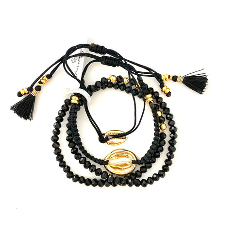 Golden Sea Shell Set of 4 Black Bracelets