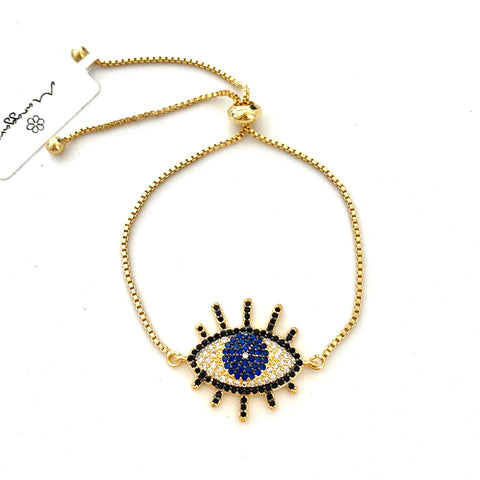 Pave Eye Adjustable Bracelet