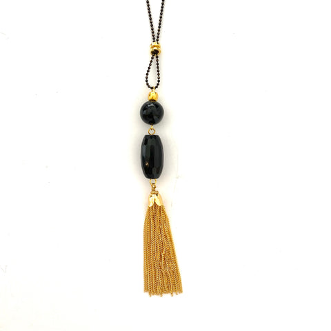 Two Black Stones with Gold Tassel Long Necklace