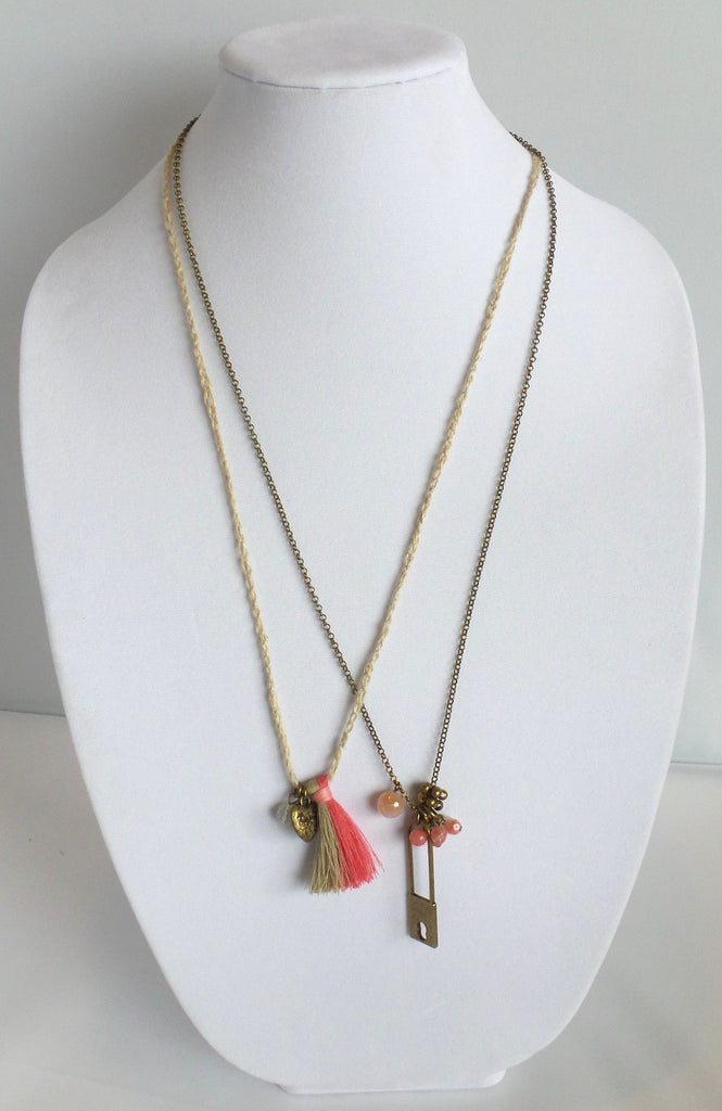 Double Strand Necklace with Safety Pin Charm - Estilo Concept Store