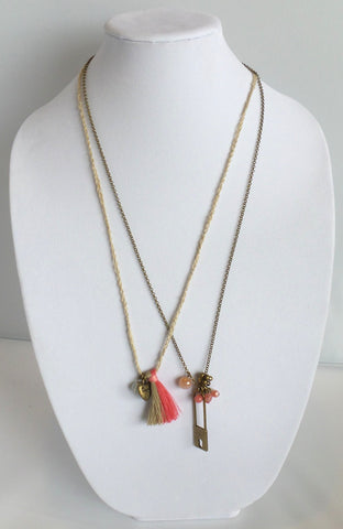 Double Strand Necklace with Safety Pin Charm