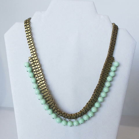 Light Green Beaded Statement Necklace