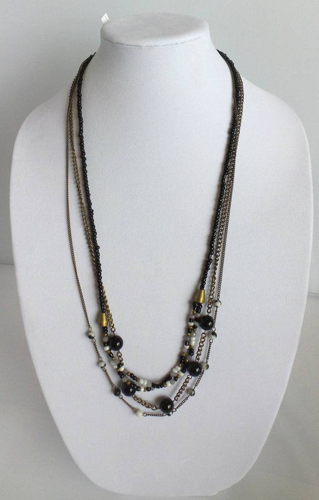Multi-Strand Necklace with Black and White Beads