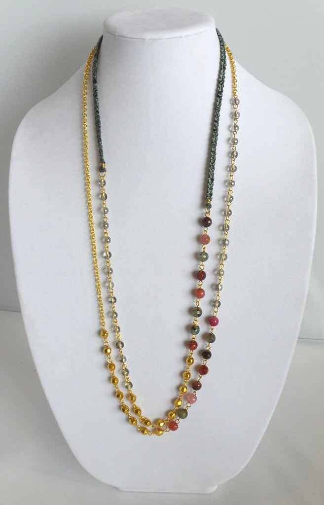 Double Strand Necklace with Multicolored Beads
