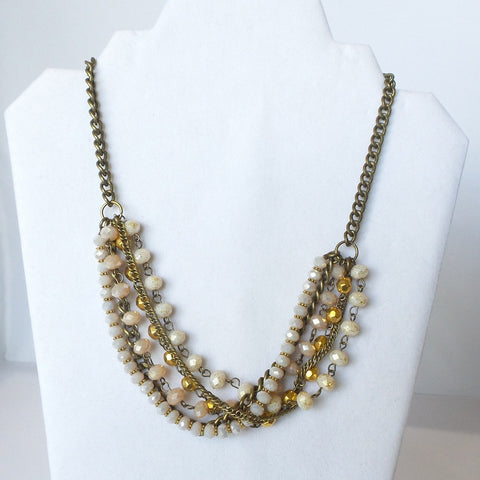 Multi-Strand Necklace with Faux Pearl Beads