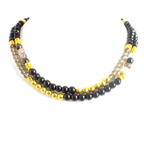 Black and Gold Beaded Double Strand Collar Necklace