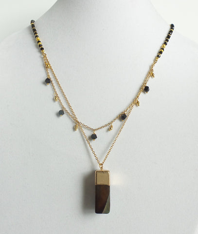 Double Black Stone Block Necklace