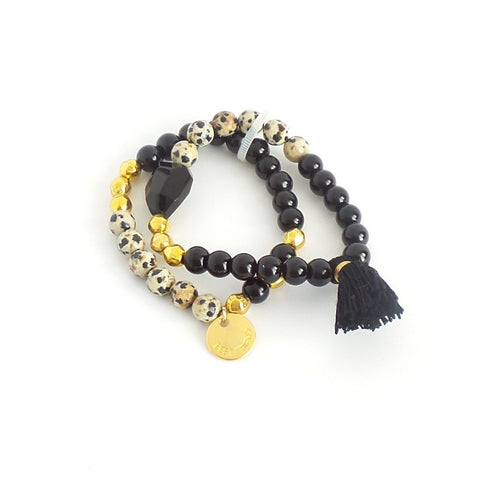 Double Black and Gold Tassel Bracelet