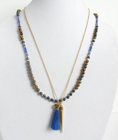 Double Blue Tassel Spike Necklace