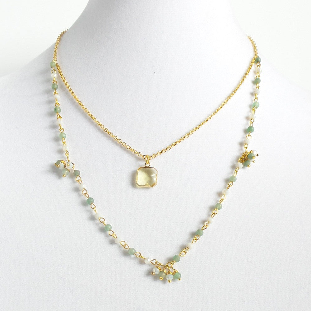 Double Square Quartz Necklace