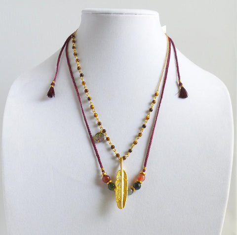 Double-layer Necklace with Golden Feather Charm