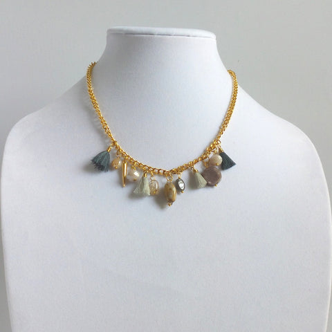 Tassels and Stones Collar Necklace