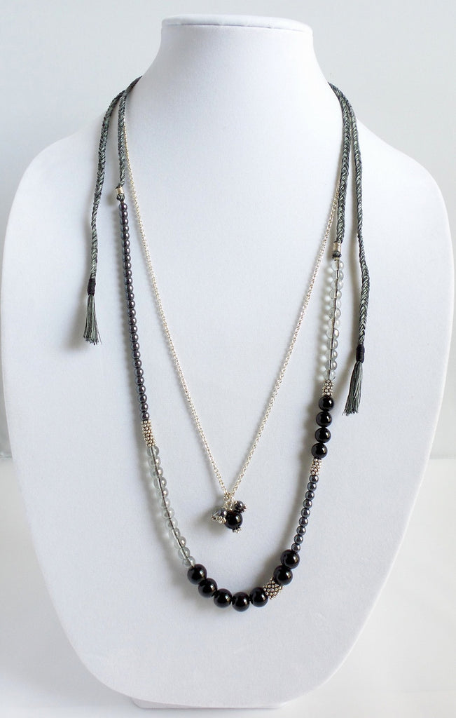 Silver Chain and Gray and Black Beads Layered Necklace