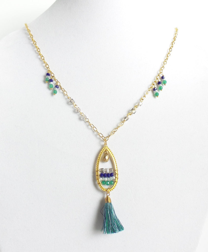 Teardrop and Tassel Y-Necklace