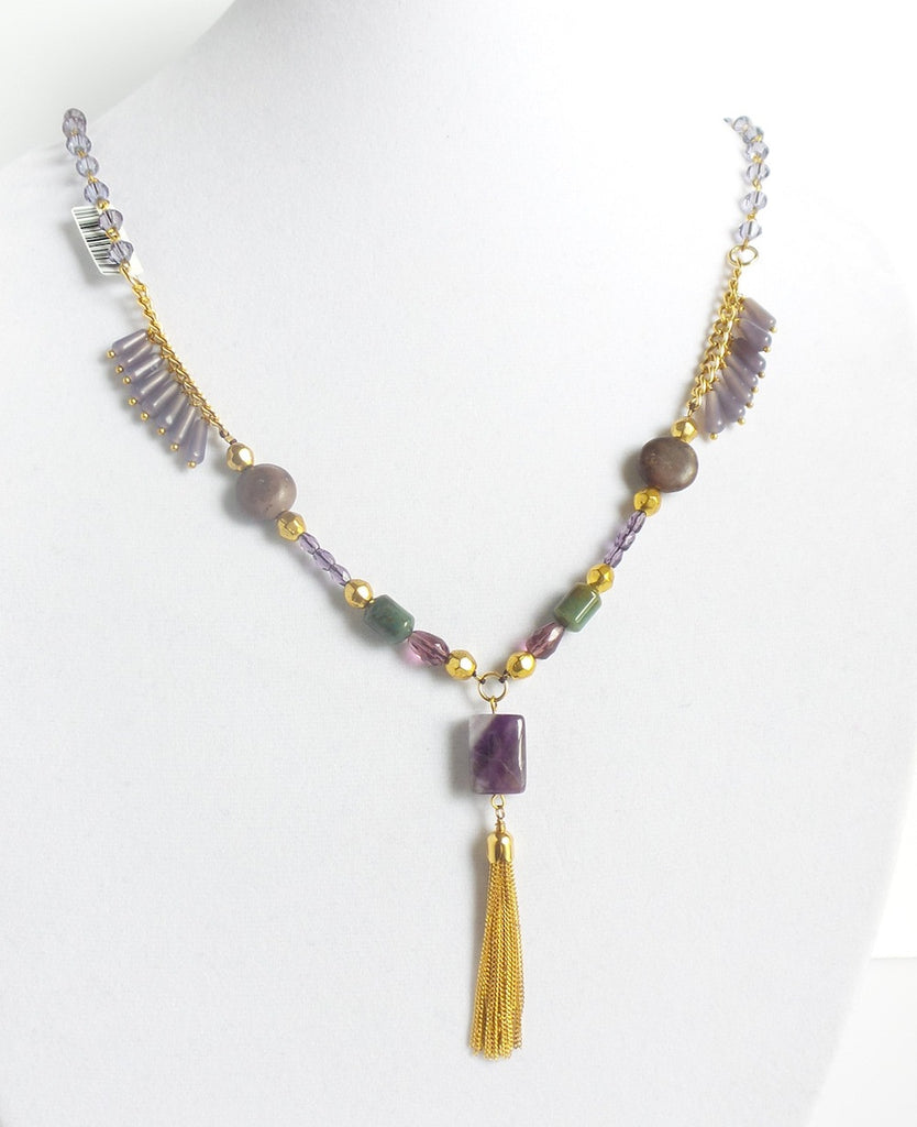 Square Stone Golden Tassel Necklace - Estilo Concept Store