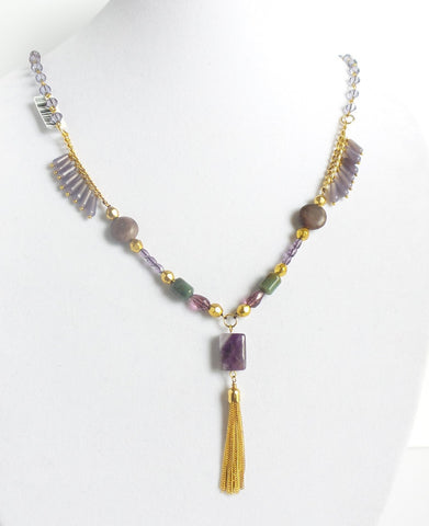 Square Stone Golden Tassel Necklace