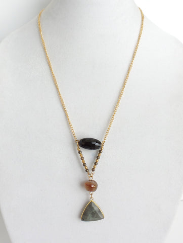 Three Stones Thin Chain Necklace