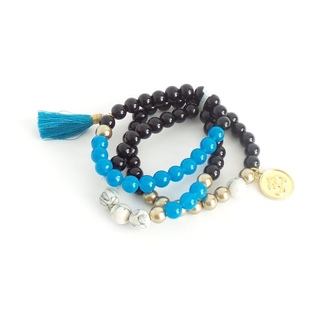 Triple Black and Blue Tassel Bracelet