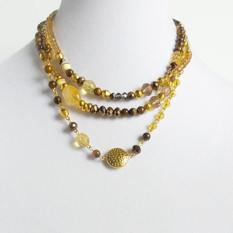 Triple Short Quartz Brown Necklace