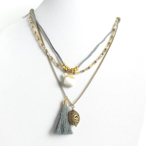 Triple Stone Tassel Gray Necklace