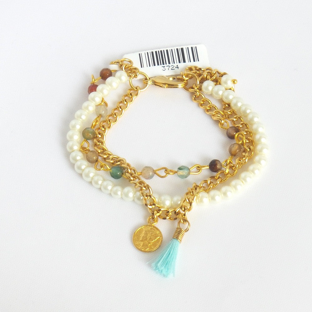 Triple Strand Bracelet with Golden Coin and Aqua Tassel - Estilo Concept Store
