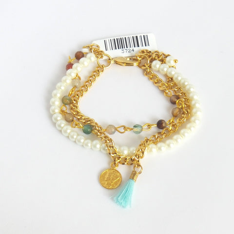 Triple Strand Bracelet with Golden Coin and Aqua Tassel