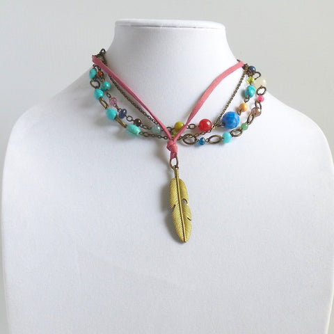 Triple Strand Collar Necklace with Golden Feather