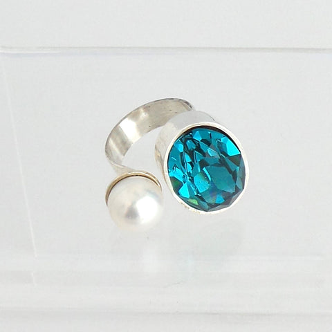 Blue Swarovski Crystal and Pearl Ring