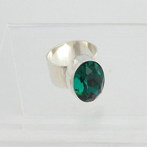 Green Swarovski Crystal Ring