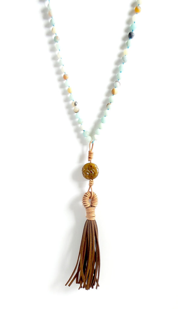 Amazonite Stone and Tassel Long Necklace