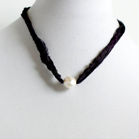 Baroque Pearl and Rustic Ribbon Choker