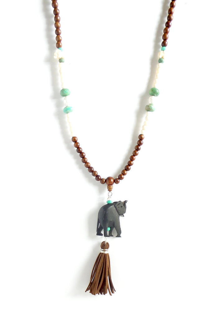 Black Elephant Long Necklace