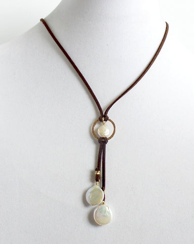Brown Suede and Pearls Y-Necklace
