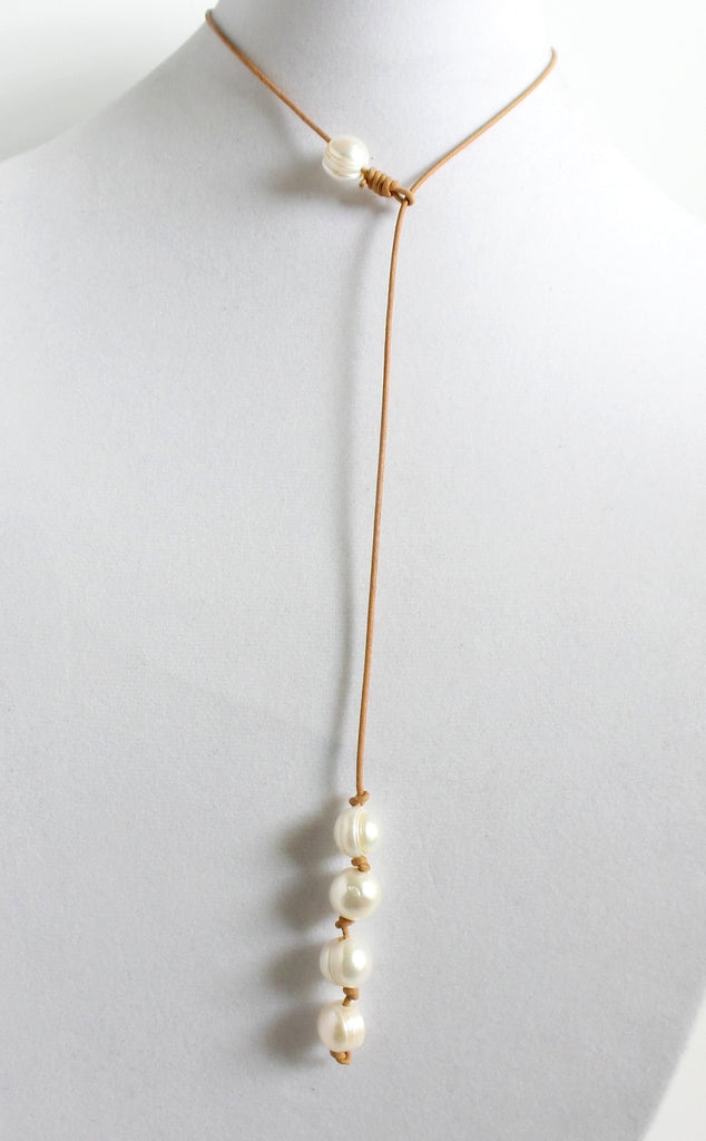Five Pearls Leather Lariat Necklace