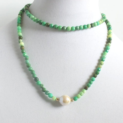 Chrysoprase Stone and Pearl Long Necklace